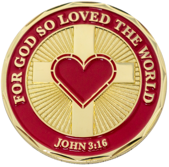 """""""For God So Loved the World"""" Gold Plated Challenge Coin - John 3:16"""