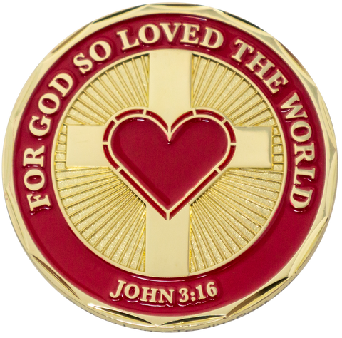"Front: cross with a heart, with the text ""For God so loved the world"" / ""John 3:16"""