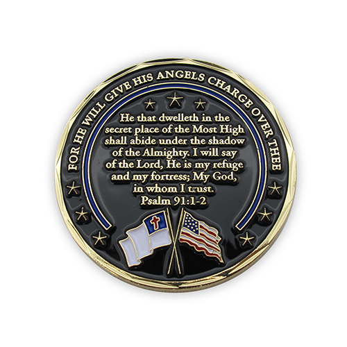 "Gold Plated Challenge Coin - Police Coin, Pocket Token of Appreciation and Protection for Law Enforcement. The Thin Blue Line. ""For He Will Give His Angels Charge Over Thee. My God, In Whom I Trust"" Psalm 91 Gift"