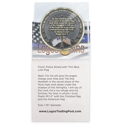 back of Police Appreciation Gold Plated Challenge Coin in packaging