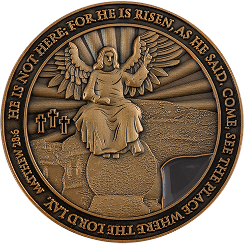 Resurrection of Jesus Coin, Antique Gold-Plated Religious Challenge Coin, He is Risen Handout Token for Easter or Bible Study, Matthew 28:6