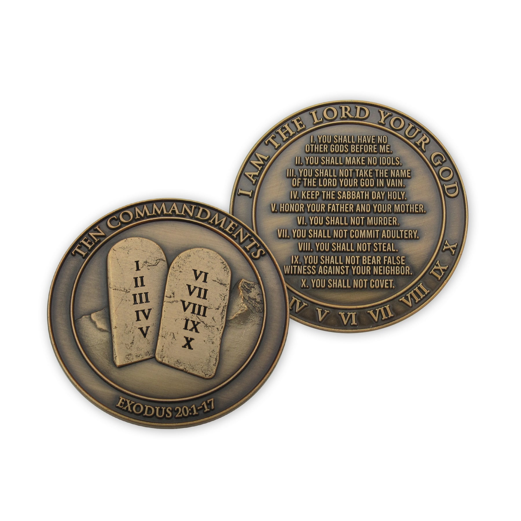 Front and back of Ten Commandments Antique Gold Plated Challenge Coin