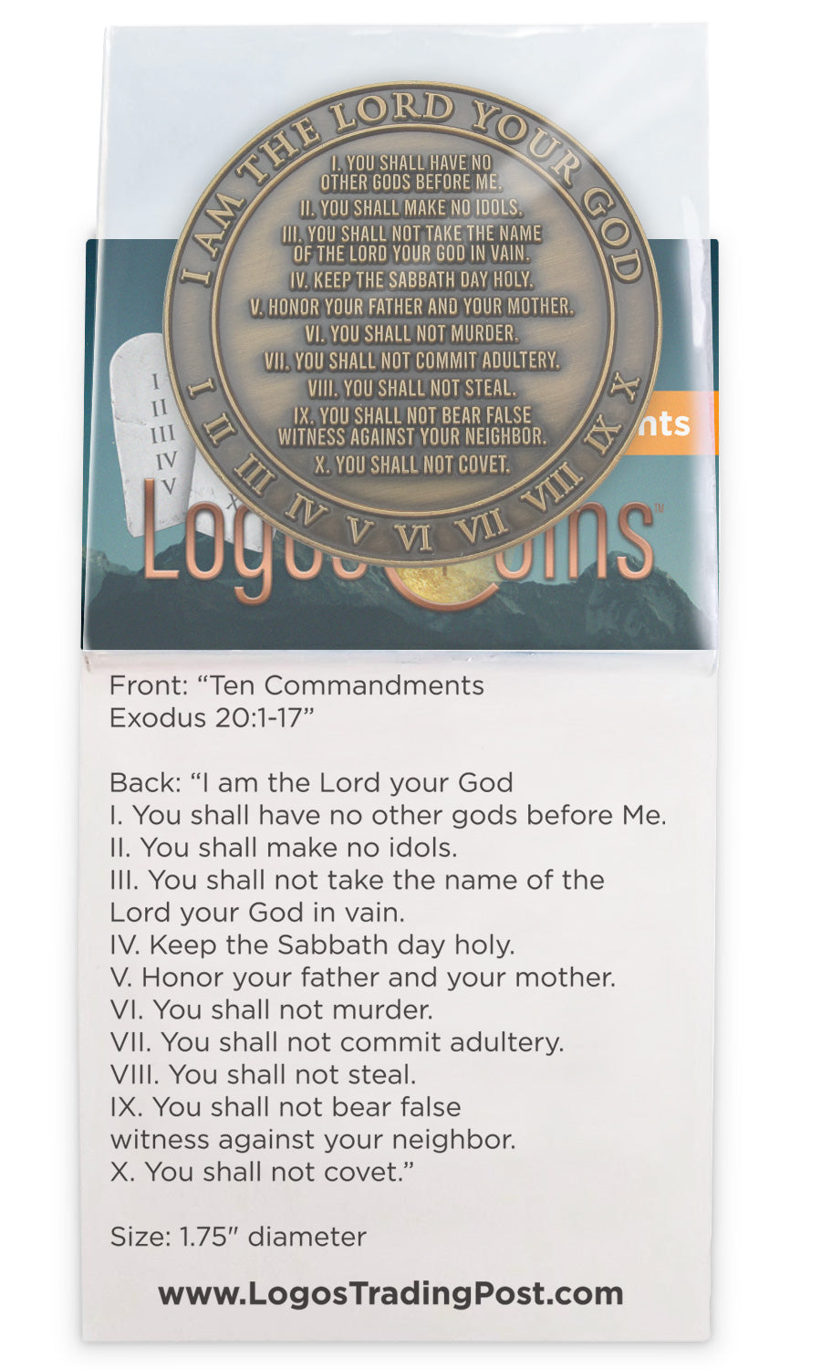 Back of Ten Commandments Antique Gold Plated Challenge Coin in packaging