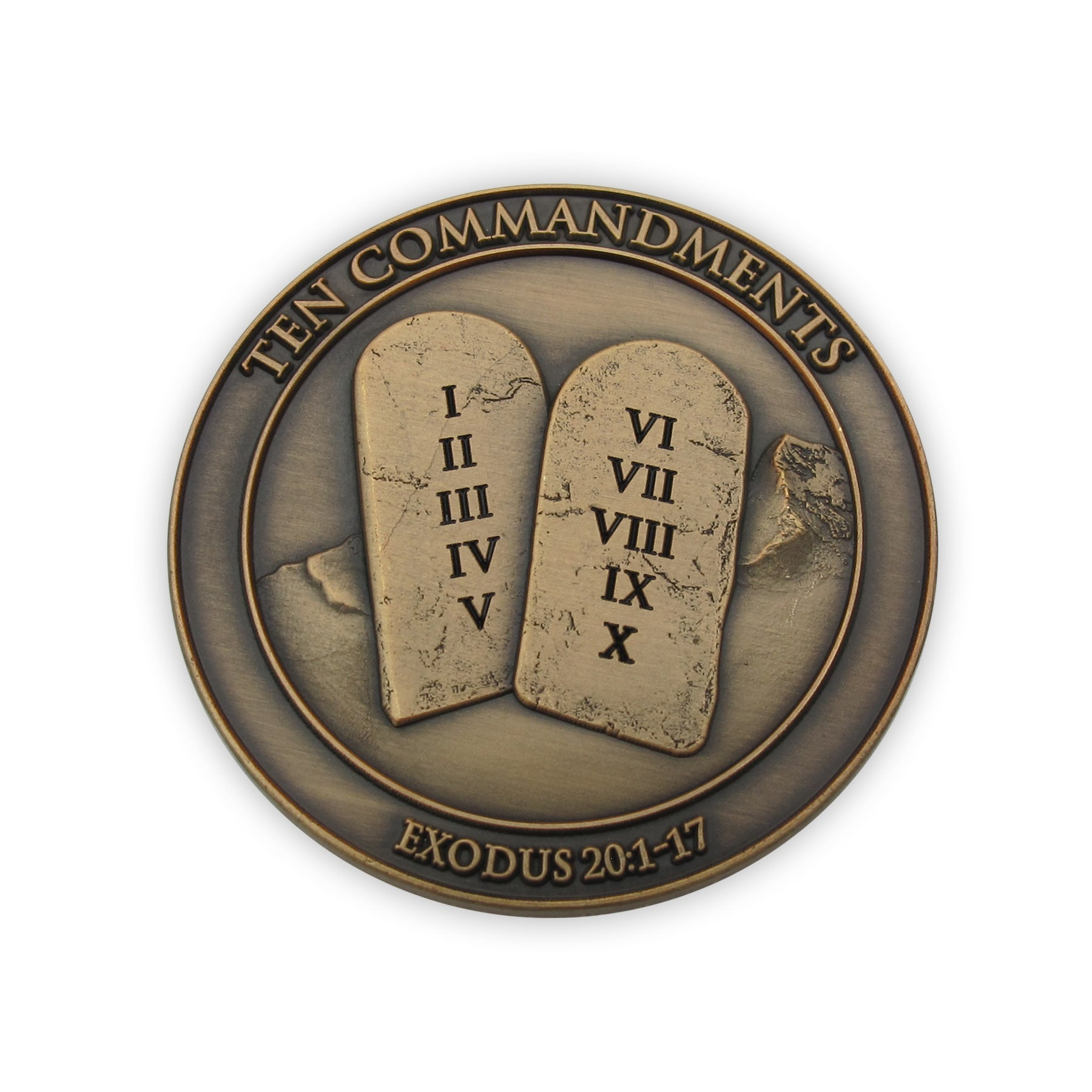 Antique Gold Plated Ten Commandments Challenge Coin - I Am the Lord Your God, Exodus 20:1-7, Handout for Sunday School or Bible Study