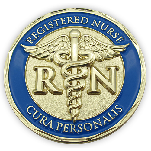 Gold Plated Challenge Coin - Nurse Coin, The Lord is My Refuge and My Fortress, Psalm 91 and Cura Personalis - Personal Care. Pocket Token of Strength, Peace and Protection, Gift for RN