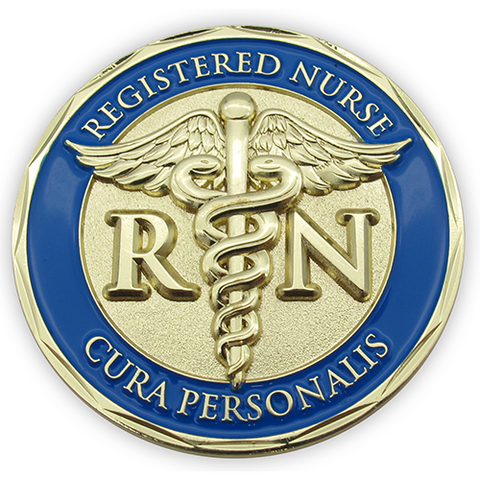 "Front: registered nurse symbol with text ""Registered Nurse"" / ""Cura Personalis"", which is Latin for "" Personal Care"""
