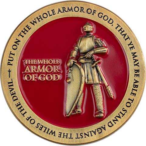 Armor of God Coin, Antique Gold-Plated Religious Challenge Coin, The Whole Armor of God  Handout, Pass Along Token of Faith, Ephesians 6:10-18