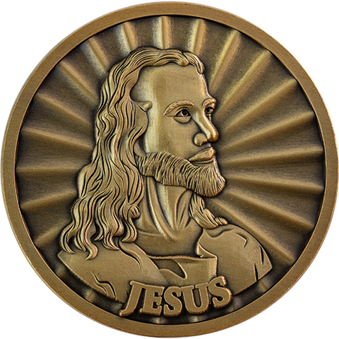 Head of Christ by Warner Sallman Coin, Antique Gold-Plated Religious Challenge Coin, Love of Jesus Christ Handout Pass Along Token of Faith, John 3:16