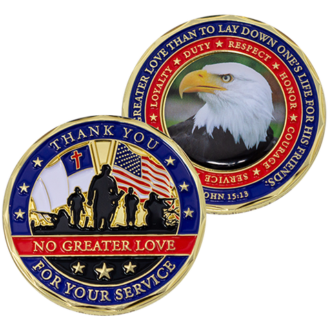 front and back of Thank You for Your Service Christian Coin