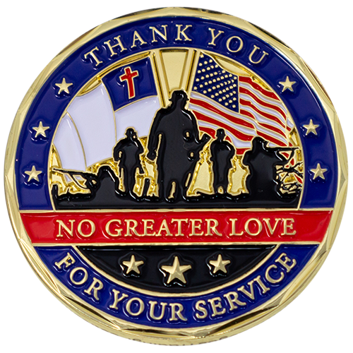 "Front: Soldiers with the American flag and Christian flag, with text, ""Thank you for your service"" / ""No greater love"""
