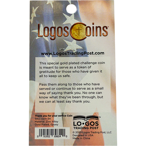 back of Thank You for Your Service Christian Coin packaging