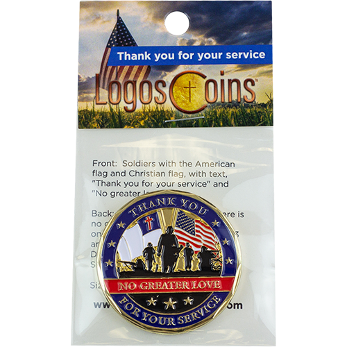 Thank You for Your Service Christian Coin, Military Medallion Token of Gratitude and Appreciation for Soldiers and Veterans, No Greater Love, Gold Plated Challenge Coin, John 15:13 Gift