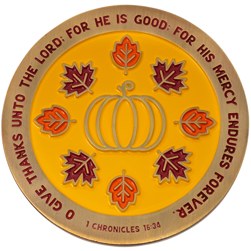 Happy Thanksgiving Collectible Christian Challenge Coin, Give Thanks Unto the Lord, Pass Along Token for Family and Friends, Antique Gold Plated 1 Chronicles 16:34 Gift