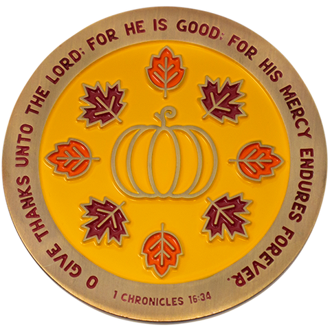 Thanksgiving Antique Gold Plated Collectible Christian Challenge Coin - 1 Chronicles 16:34