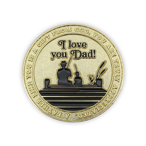 "Front: Silhouette of a Father and child sitting on a dock, with text, ""A father like you is a gift from God. You are truly appreciated."" / ""I love you, dad!"""