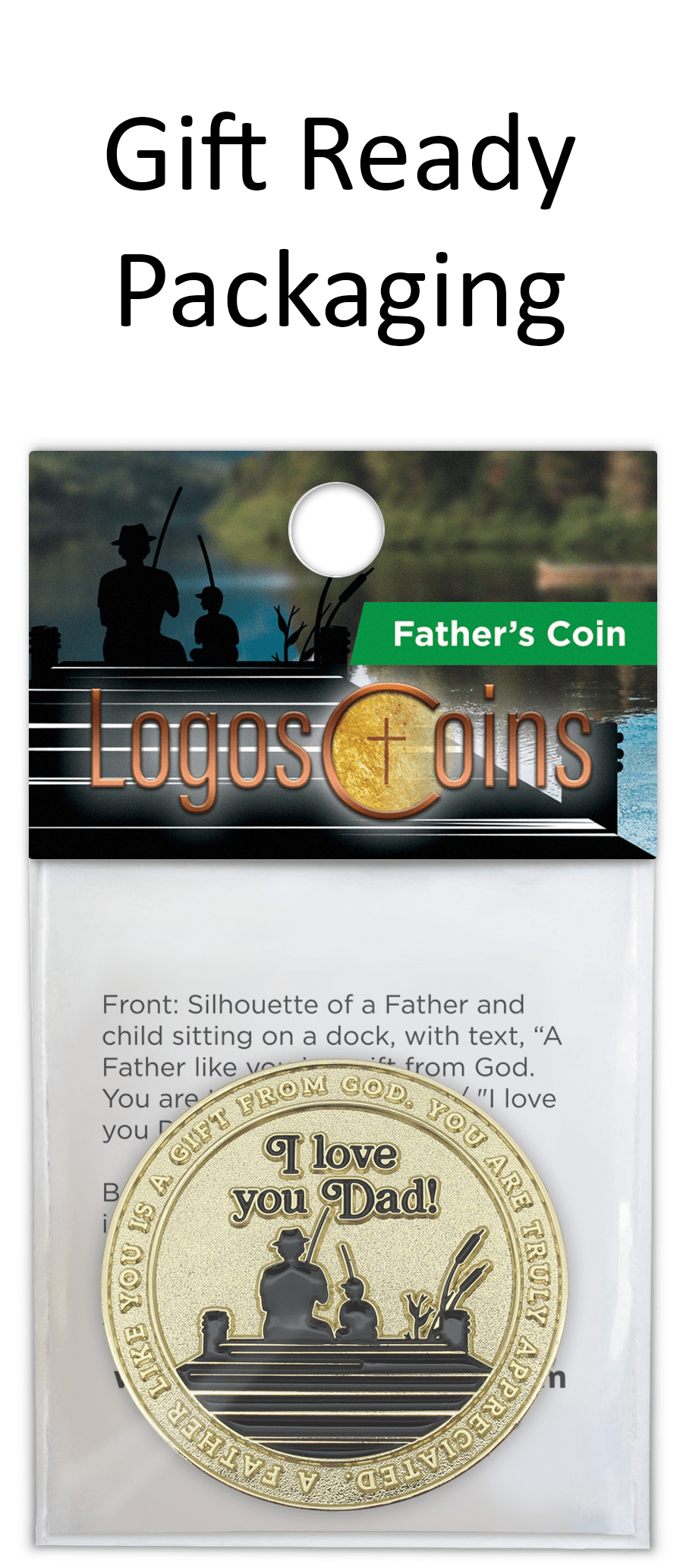 Father's Coin, I Love You Dad Token of Appreciation, Gold Plated Challenge Coin, Proverbs 20:7 Pocket Coin Gift for Men, Unique Gift Idea for Dads and Grandfathers, from Daughter, sons or Wife.