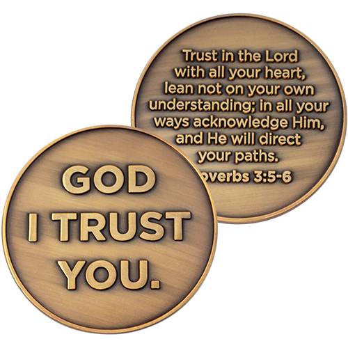 God I Trust You Christian Antique Gold Plated Challenge Coin front and back of the coin