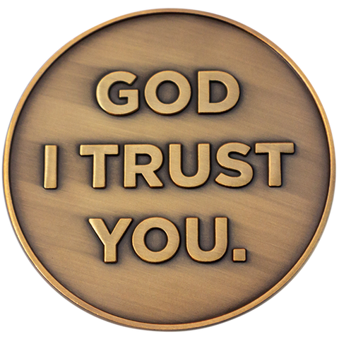 God I Trust You Christian Challenge Coin, Trust in the Lord with All Your Heart, Pocket Token of Trust and Serenity, Antique Gold Plated Proverbs 3:5-6 Gift