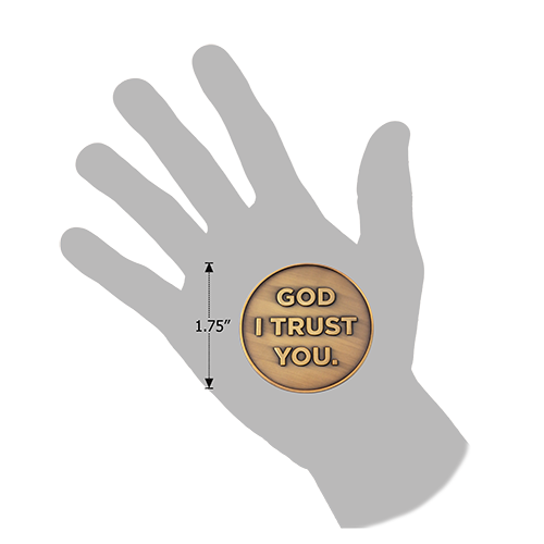 God I Trust You Christian Antique Gold Plated Challenge Coin  in a hand for size comparison