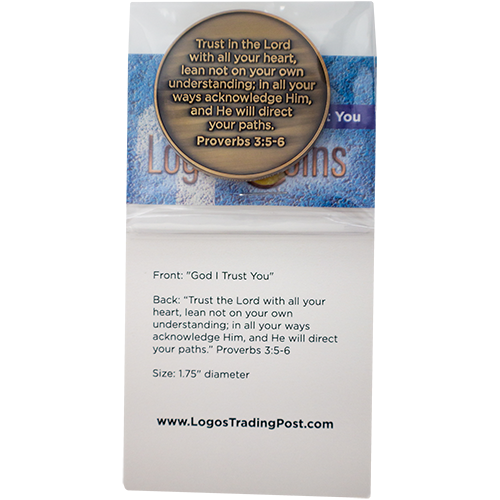 back of God I Trust You Christian Antique Gold Plated Challenge Coin  in packaging