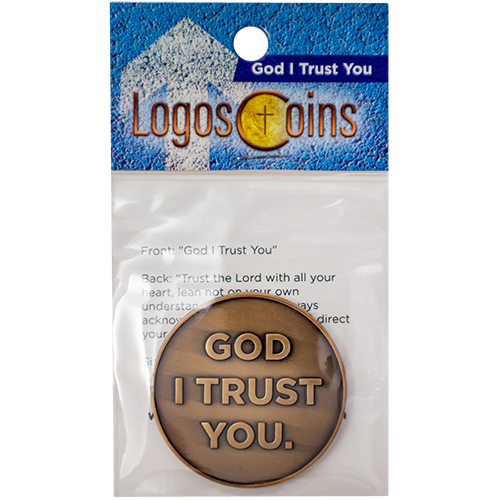front of God I Trust You Christian Antique Gold Plated Challenge Coin in packaging