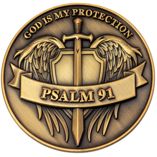 Psalms 91 - God is My Protection Challenge Coin