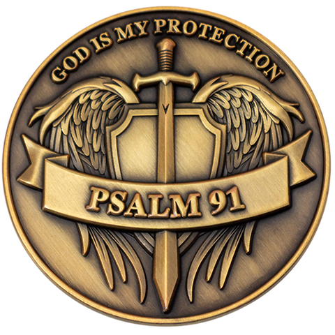 "Front: Angel wings with sword and shield, with text, ""God is my protection"" / ""Psalm 91"""