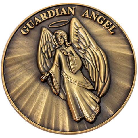 Guardian Angel Christian Challenge Coin, Pass Along Token of Assurance and Peace, Handout for Sunday School or Kids Church, Antique Gold Plated Psalm 91 Gift