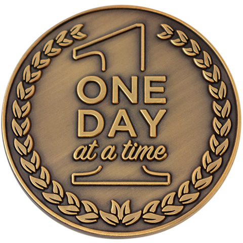 "Front: Text, ""One day at a time"""
