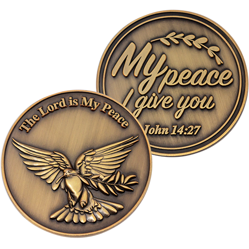 Front and back of The Lord is my Peace Antique Gold Plated Christian Coin with Dove and Olive Branch