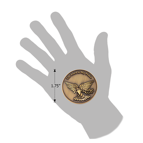 The Lord is my Peace Antique Gold Plated Christian Coin with Dove and Olive Branch in hand for size reference