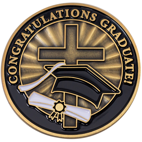 "Front: Cross, diploma, and graduation cap, with text, ""Congratulations Graduate!"""