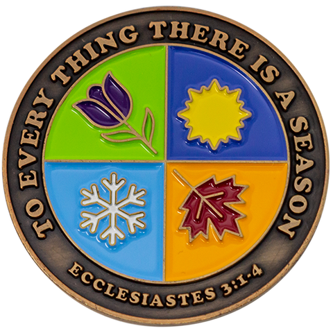 "Front: Iconography representing the four seasons, with text ""To everything there is a season"" / ""Ecclesiastes 3:1-4"""