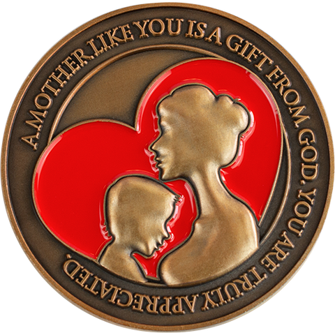 "Front: Silhouette of a mother and child in a heart, with the text ""A mother like you is a gift from God. You are truly appreciated."""