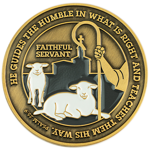 "Front: Shepherd's rod, sheep, and church, with text ""He guides the humble in what is right and teaches them his way. Psalm 25:9"" / ""Faithful Servant"""
