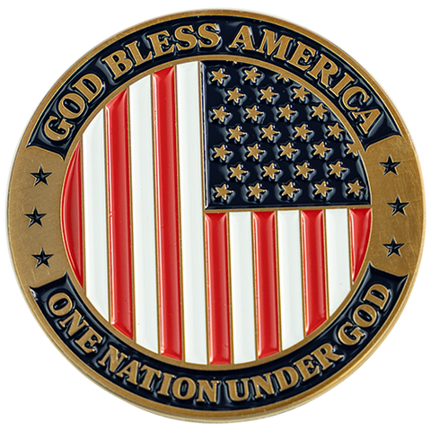 God Bless America Christian Religious Antique Gold Plated Coin