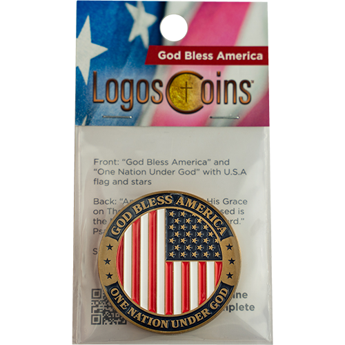 God Bless America Coin, Patriotic American Flag Military Soldiers Challenge Coin, One Nation Under God, USA Token of Independence, Christian Religious Antique Gold Plated Prayer Token Gift