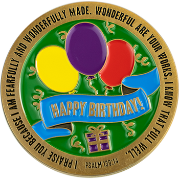 Happy Birthday Commemorative Gold Plated Prayer Coin