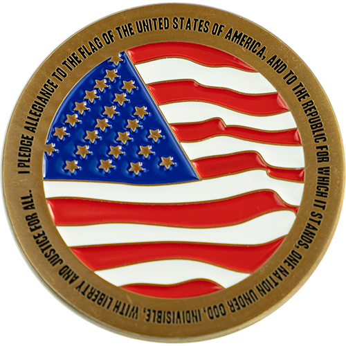 "Back: American flag, with text ""I pledge allegiance to the flag of the United States of America, and to the republic for which it stands, on nation under God, indivisible, with liberty and justice for all."""
