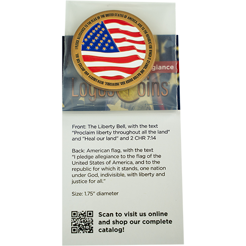 back of Pledge of Allegiance Antique Gold Plated Coin in packaging