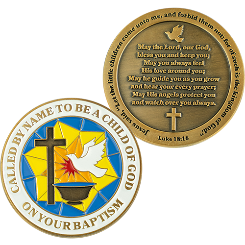 Baptism Coin, Baptismal Gift for Girls and Boys, Commemorative Keepsake Token, Catholic and Christian Religious Antique Gold Plated Prayer Challenge Coin