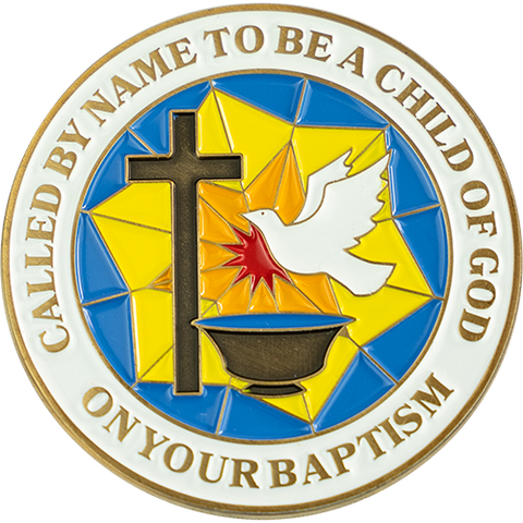 "Front: Ornate dove and cross, with text ""Called by name to be a child of God"" / ""On your baptism"