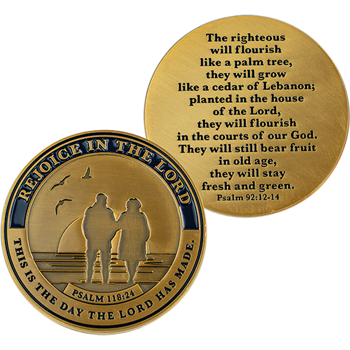 Front and back of Retirement Religious Antique Gold Plated Prayer Coin