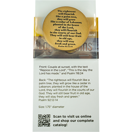 back of Retirement Religious Antique Gold Plated Prayer Coin in packaging