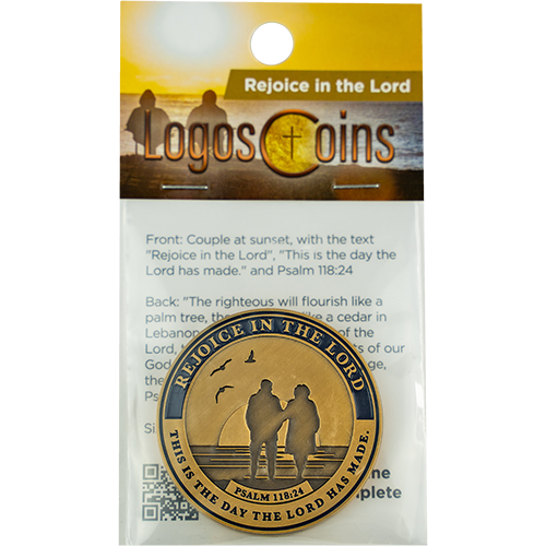front of Retirement Religious Antique Gold Plated Prayer Coin in the packaging