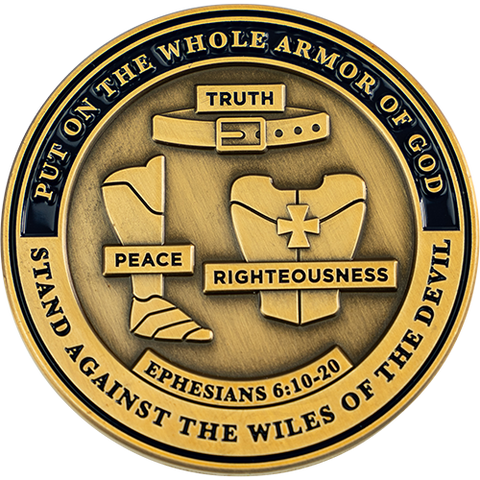 "Front: Belt, breastplate, and shoes, with text ""Put on the whole armor of God"" / ""Stand against the wiles of the devil"" / ""Truth"" / ""Peace"" / ""Righteousness"" / ""Ephesians 6:10-20"""
