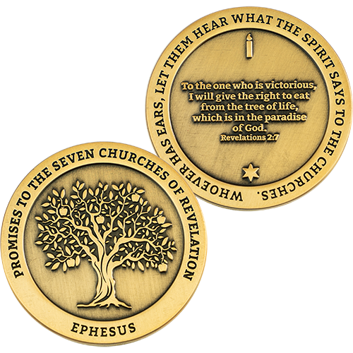 front and back of Ephesus, Seven Churches of Revelation Antique Gold Plated Challenge Coin