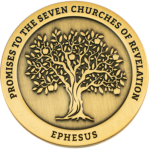 "Front: Tree with apples, with text ""Promises to the seven churches of Revelations"" / ""Ephesus"""