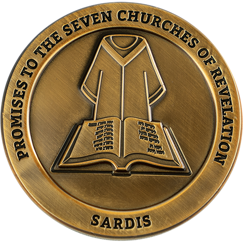 "Front: Cloak and Book of Life, with text ""Promises to the seven churches of Revelations"" / ""Sardis"""