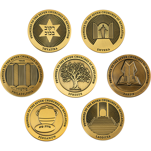 Complete Collection of all Seven Churches of Revelation Challenge Coins, Signs of the End Times and Promises to the 7 Churches Collectible Bible Verse Token, Christian Religious Antique Gold Plated Prayer Gift